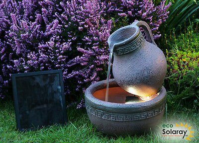 Jug Bowl Water Feature Fountain Cascade Solar Powered Earthenware Pottery Effect
