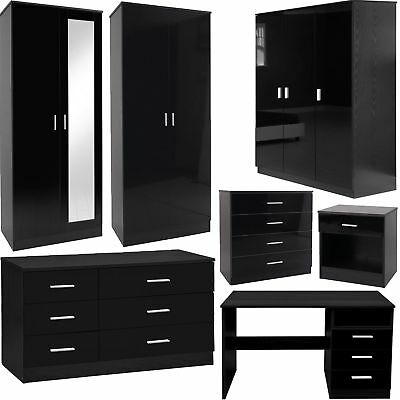 Bedroom Furniture 3 Piece Set Black Gloss Wardrobe Drawer Bedside Chest Table