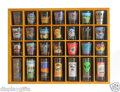 28 Shot Glass Display Case  Rack Wall Shelves Shadow Box Holder Cabinet, SC11-OA