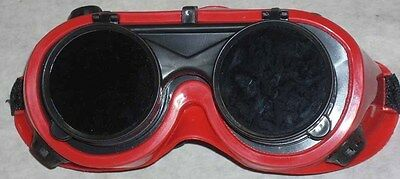 Red Welding Safety Goggles 50mm Round Flip Front Lens Shade 5