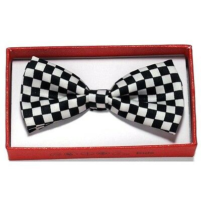 Black White Checker Toddler Bow Tie for Boy Girl Child School Picture Recital IW