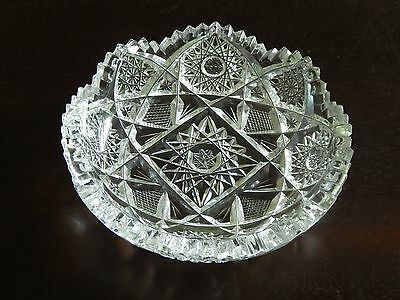 Vintage Pressed & Cut Glass nappy / candy dish very intricate & elaborate design