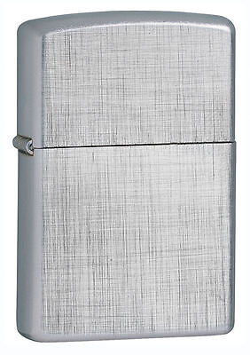 Zippo Windproof Chrome Lighter With Linen Weave Pattern, 28181, New In Box