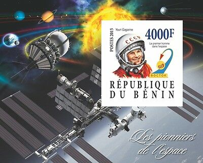 Pioneers of Space Conquest Yuri Gagarin s/s Benin 2015 MNH #BEN2015-100 IMPERF
