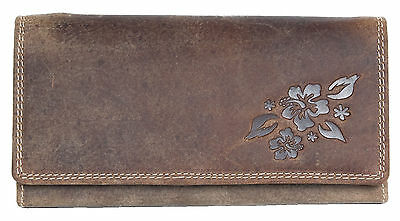 Women's natural genuine leather wallet with partial ornamental flower stamping