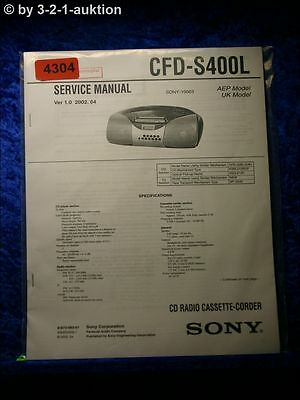 Sony Service Manual CFD S400L Cassette Corder (#4304)