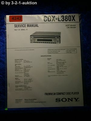 SONY SERVICE MANUAL CDX L380X CD Player (#4242) - EUR 16,00 ...