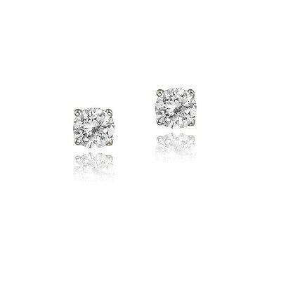 925 Silver 3/5ct White Topaz 4mm Round Stud Earrings