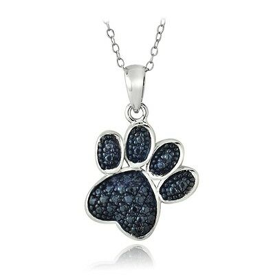 Sterling Silver Treated Blue Diamond Accent Paw Print Necklace