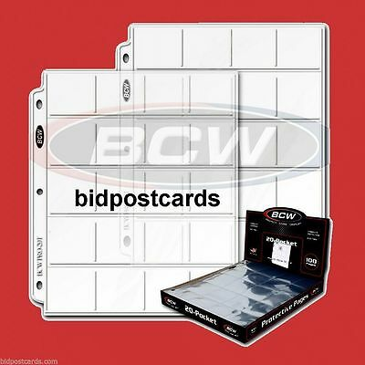 *50* BCW 20-Pocket Pages for 2x2 Coin Flips Holders Pro Archival Protector Sheet