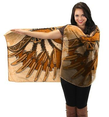 Steampunk Steam PUNK Mechanical Wings Lightweight Sheer SCARF Shawl Wrap Brown
