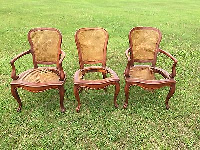 Three Carved Wood Caned Chairs Victorian Antique Some Damage Shabby
