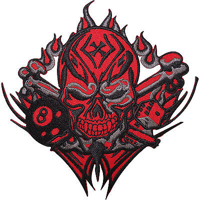 Skull Dice 8 Ball Cross Embroidered Iron / Sew On Patch Motorcycle Jacket Badge