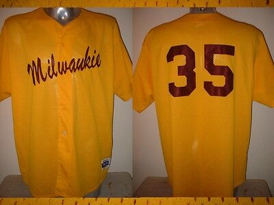 Milwaukie Majestic Vintage Jersey Shirt Adult XXL Baseball Official MLB Yellow