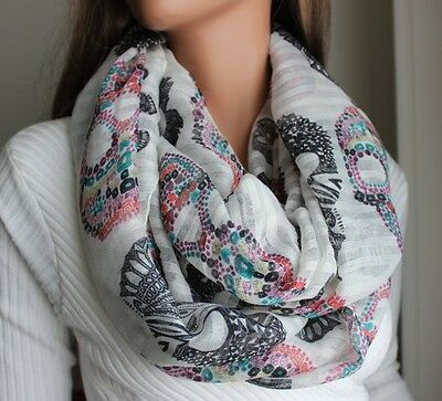 Ladies Fashion Scarf - Candy Skull Print - Choose Color - Brand New