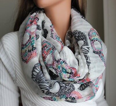 Ladies Womens Fashion Scarf - Candy Skull Print - Choose Color - Brand New