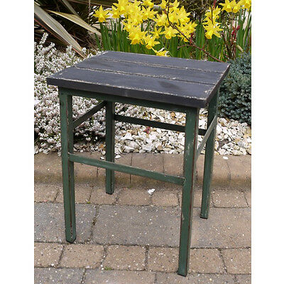 Urban Industrial Style Metal Stool Solid Wood Top Rustic Finish Small Bench 42cm