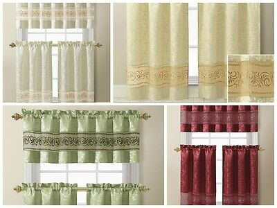 3 Piece Jacquard Kitchen Window Curtain Set with Embroidered Sheer Accent Stripe