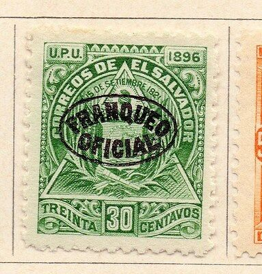 Salvador 1896 Early Officials Optd Issue Fine Mint Hinged 30c. 170432
