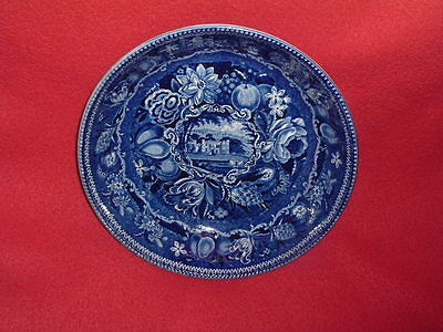 Historical Staffordshire Dark Blue Beaded Bowl Select Views By Hall 1825