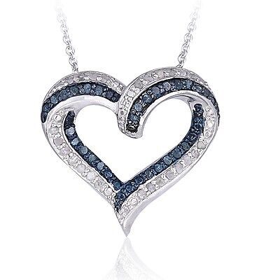 0.50ct TDW Black or Blue & White Diamond Open Heart Necklace in Brass