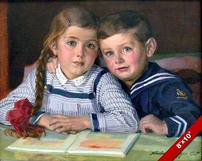 Young Brother & Sister Boy Girl Painting Child Children Kids Art Canvas Print