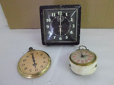 Lot of 3 Vintage Clocks: Westclox, Shaffield, VIP - Sold AS IS, Non Working