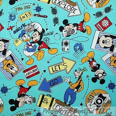 BonEful Fabric FQ Cotton Quilt Aqua Mickey Disney World Travel Donald Duck Goofy