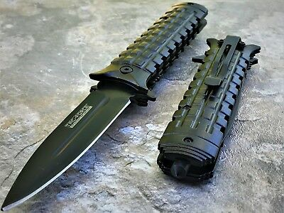 TAC FORCE Spring Assisted Opening BLACK Dagger Tactical Rescue Pocket Knife NEW!