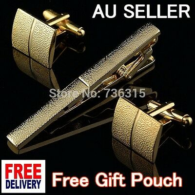 NEWEST Gold Metal Men CufflinkS Tie Bar Clip Clasp Simple Office Wedding Set