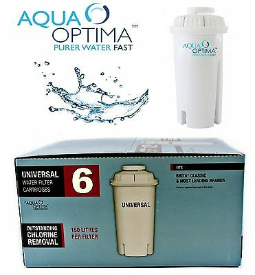6,12,24 x AQUA OPTIMA UNIVERSAL WATER FILTER CARTRIDGES FOR BRITA CLASSIC JUGS