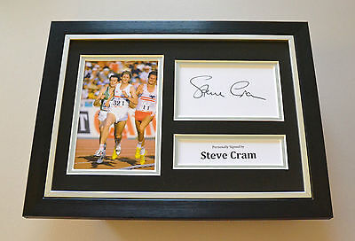 Steve Cram Signed A4 Photo Framed Olympics Autograph Display Memorabilia + COA