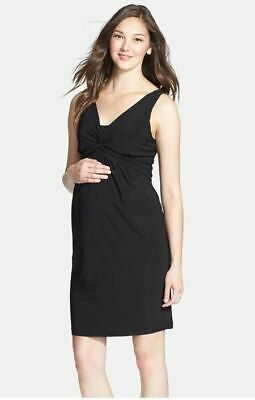 New Japanese Weened Maternity Luxe Jersey Twist Front Black Nursing Dress S 6 8
