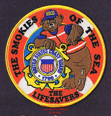 LMH PATCH Badge  USCG SMOKIES SEA  Lifesavers  COAST GUARD Bear Slogan  5 LOT