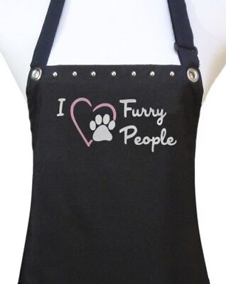 "Dog Grooming Apron ""FURRY PEOPLE"" pet groomer salon waterproof dog wash new"