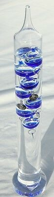 30cm tall Free standing galileo thermometer with blue coloured baubles