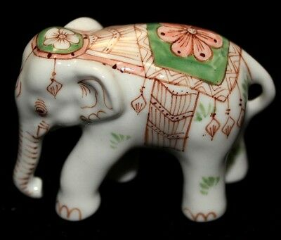 Mini Galaxy White Elephant Animal Figurine Ceramic Handmade Handcraft Painting