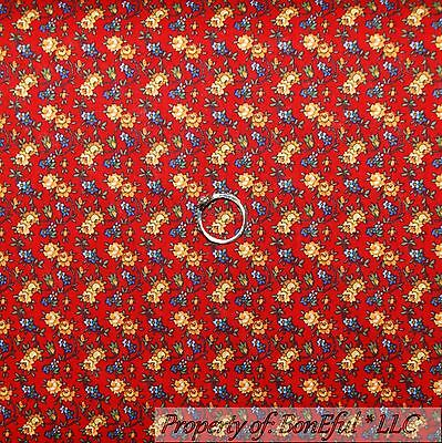 BonEful Fabric FQ Cotton Quilt Red White Blue Yellow Flower Dot VTG Repro Calico