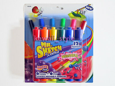 Mr. Sketch Scented WASHABLE Markers 12 COMBO PACK 6 Chisel Tip + 6 Stix Fine NEW