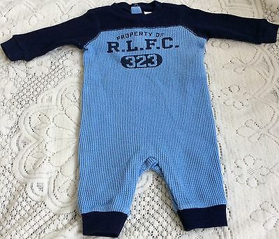 New Baby Boys Ralph Lauren Long Sleeves  Graphic  Coverall Body Suit//Romper 3M