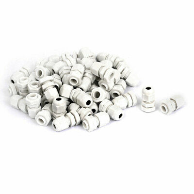 50 Pcs White PG7 3-6.5mm Waterproof Cable Glands Fixing Lead Connector Fastener
