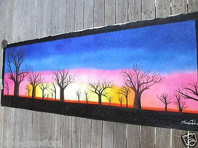 Huge  Boab Tree Sunset  Australian Landscape Aboriginal Painting Art 59""