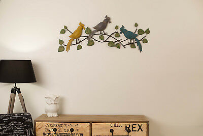 3 Colourful Cockatoo Iron Metal Wall Art  Vintage Outdoor Hanging Garden Bird