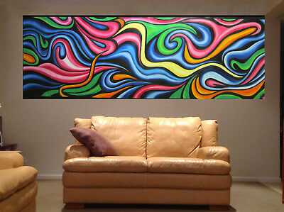 rainbow dreaming signed art oil painting abstract  200cm Australia aboriginal