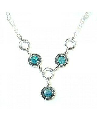 Unique Israeli Jewelry-925 Sterling Silver Ancient Roman Glass Necklace