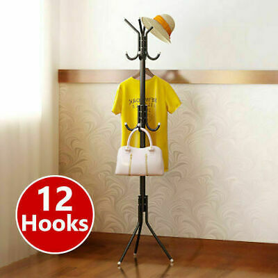 12 Hook Coat Hanger Stand 3-Tier Hat Clothes Metal Rack Tree Style Storage Black