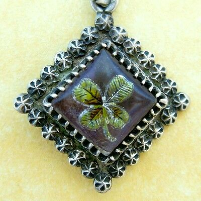 Antique Victorian Silver Charm Charles Horner Intaglio Reverse Painted Clover
