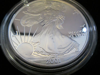 2001-W Proof American Silver Eagle Deep Cameo extreamly high grade cased /coa