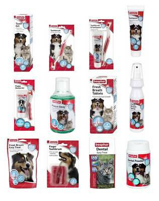 Beaphar Dog Cat Puppy Dental Toothbrush Toothpaste Range Fresh Breath Treats