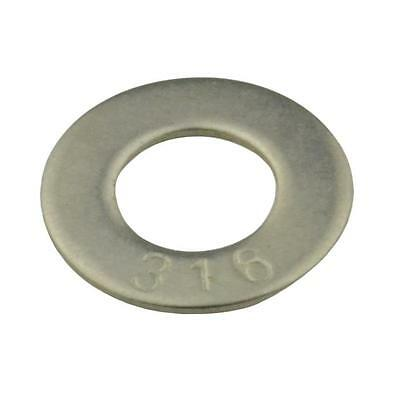 Qty 20 Flat Washer M10 (10mm) x 21mm x 1.2mm Marine Stainless Steel SS 316 A4